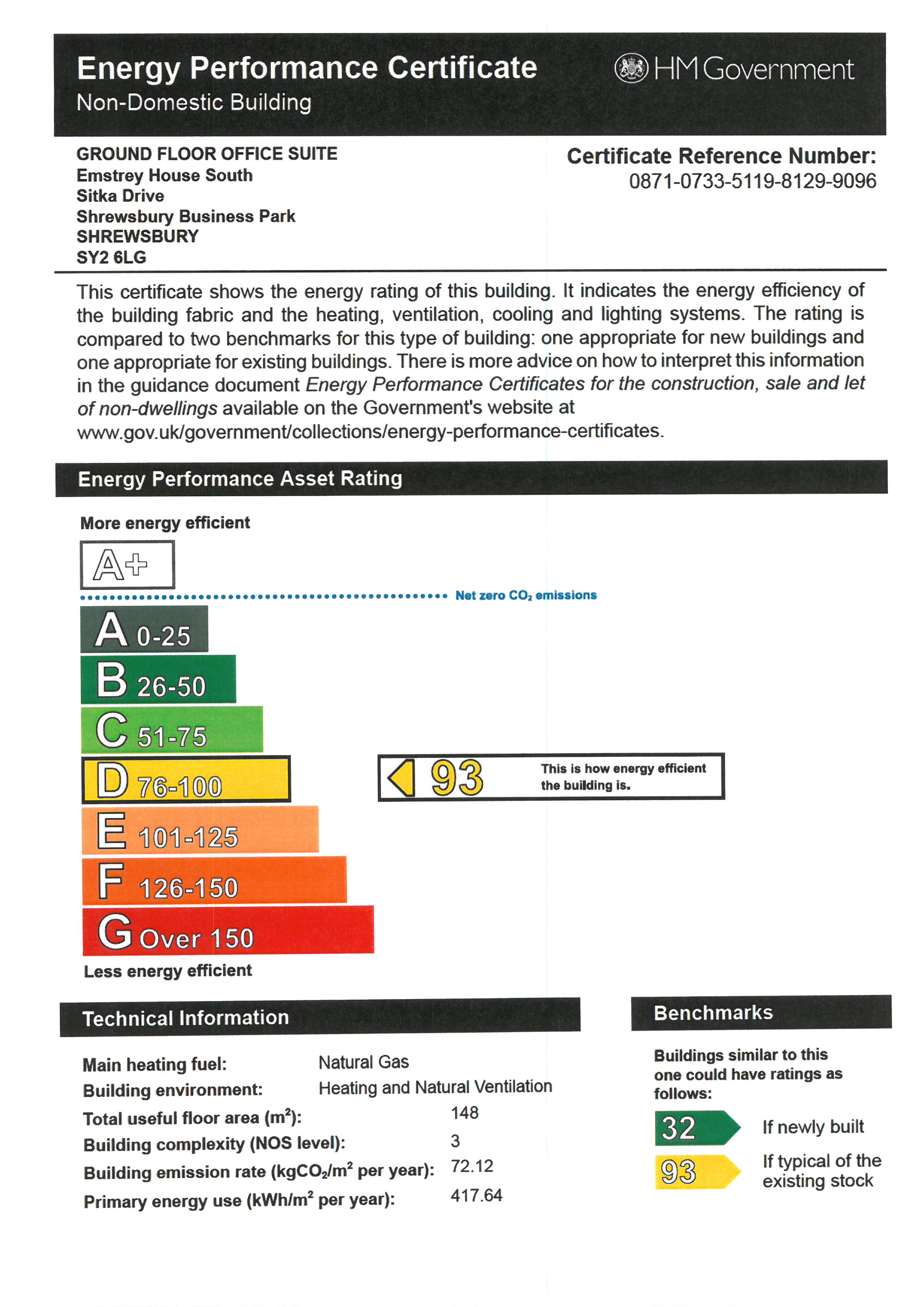 EPC for Ground Floor Premises, Emstrey House South, Shrewsbury, sy2 6lg