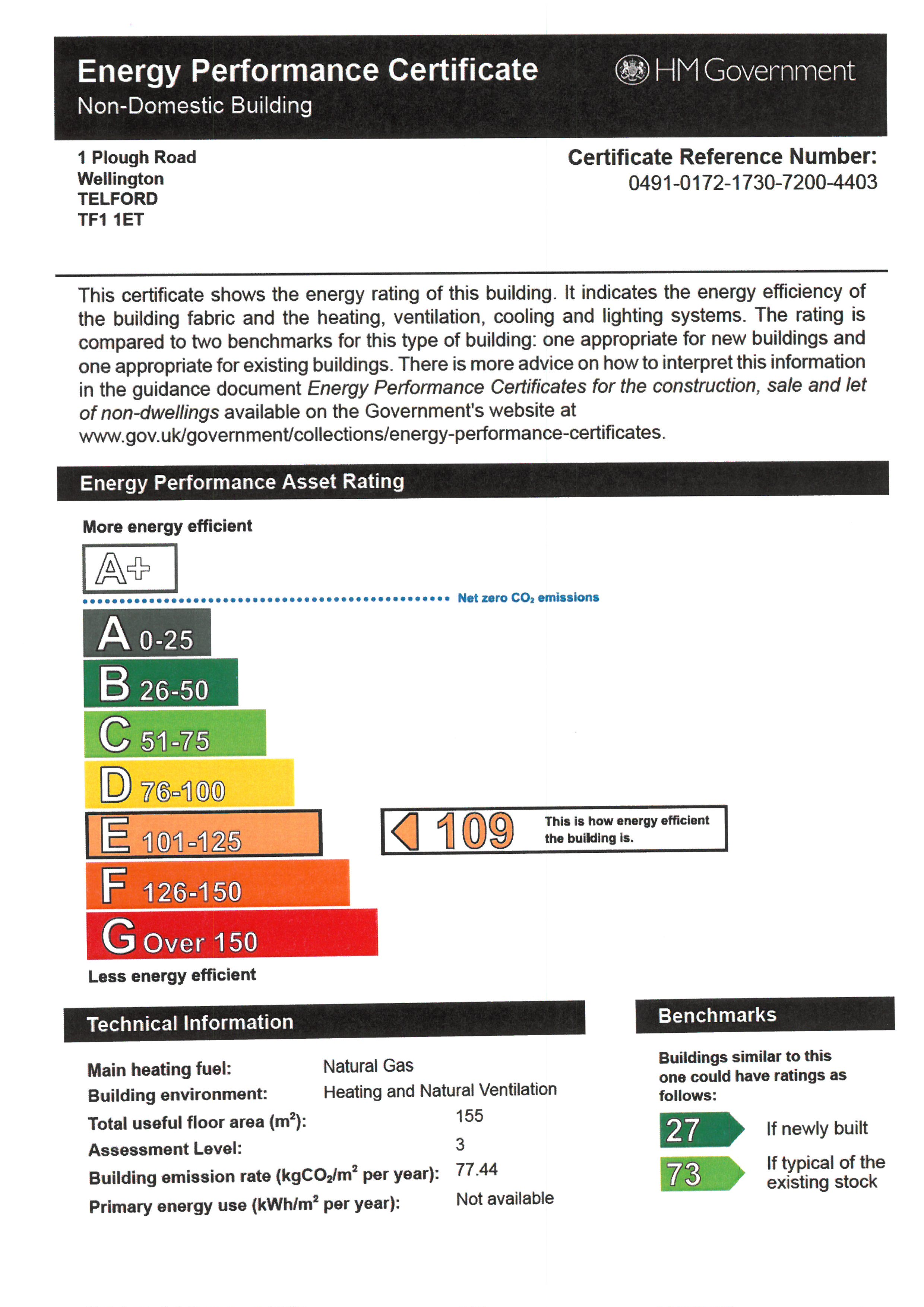 EPC for Plough Road, Wellington, Telford, Shropshire, tf1 1et