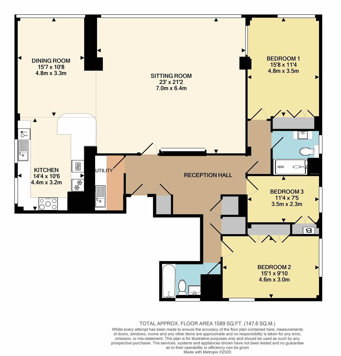 Shirley Towers, Torquay floorplan