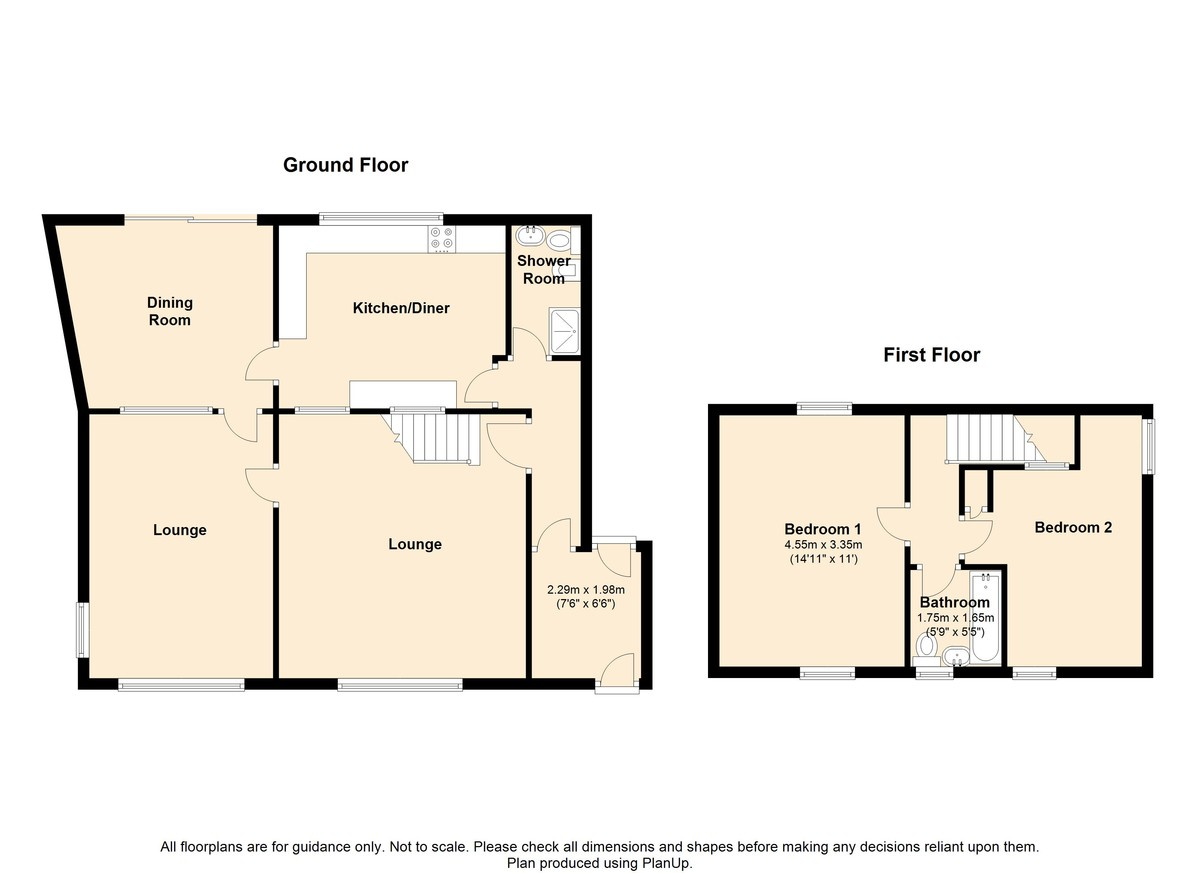 2 Bedroom Link Detached House To Rent - Floorplan 1