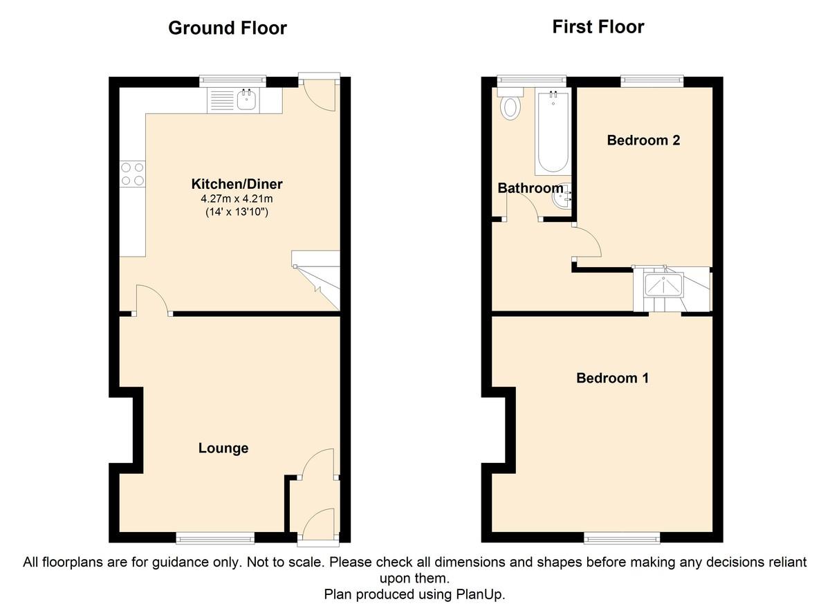 2 Bedroom Mid Terraced House To Rent - Floorplan 1