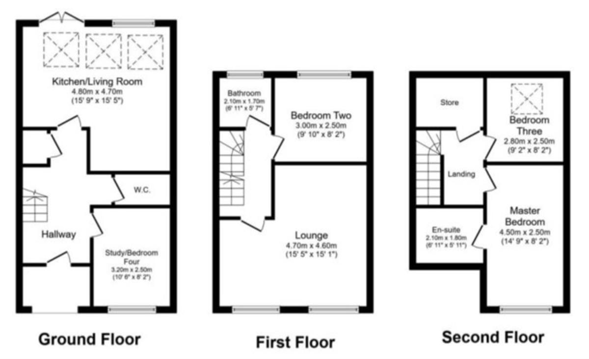 3 Bedroom Town House To Rent - Floorplan 1