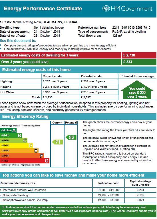 Rating Row, Beaumaris, North Wales epc