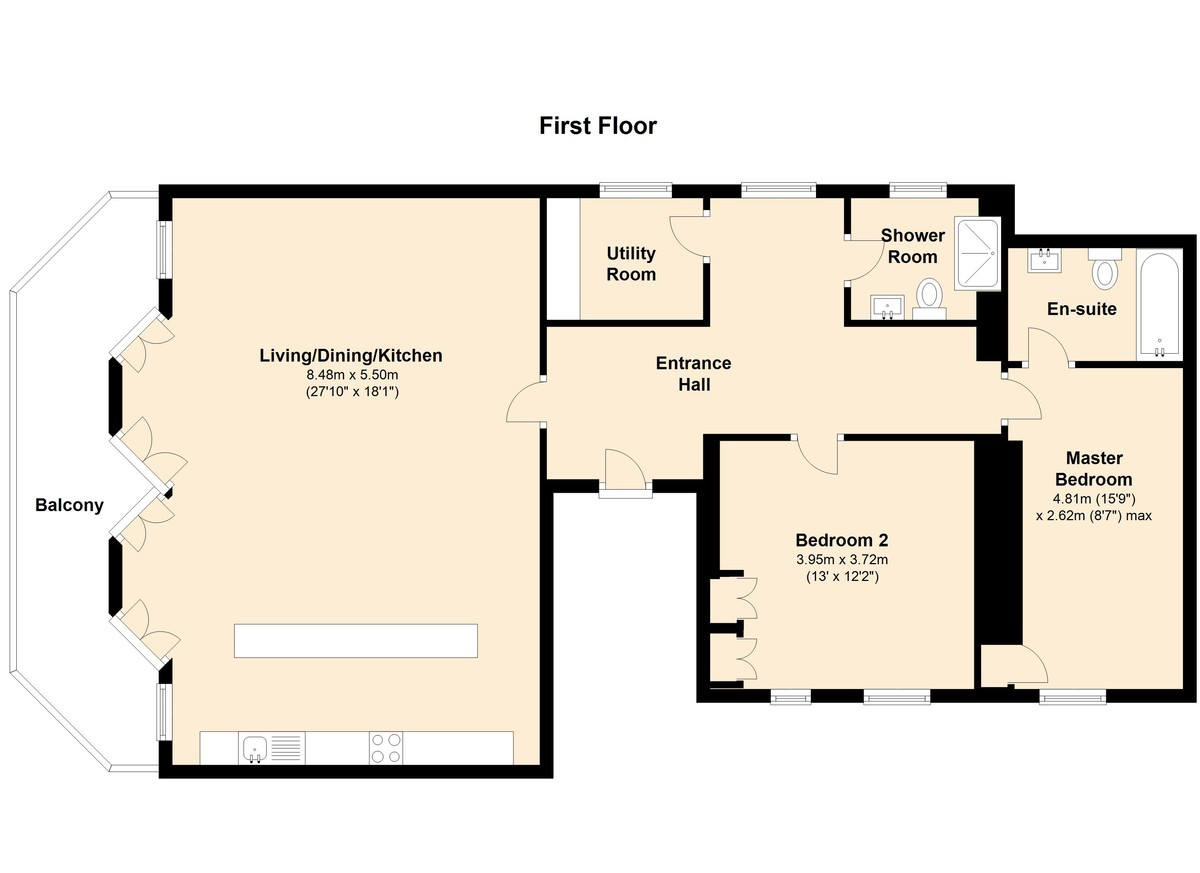 The Royal Dart Apartment 1, Kingswear, Devon floorplan
