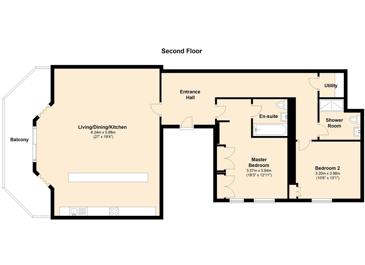 The Royal Dart Apartment 2, Kingswear, Devon floorplan