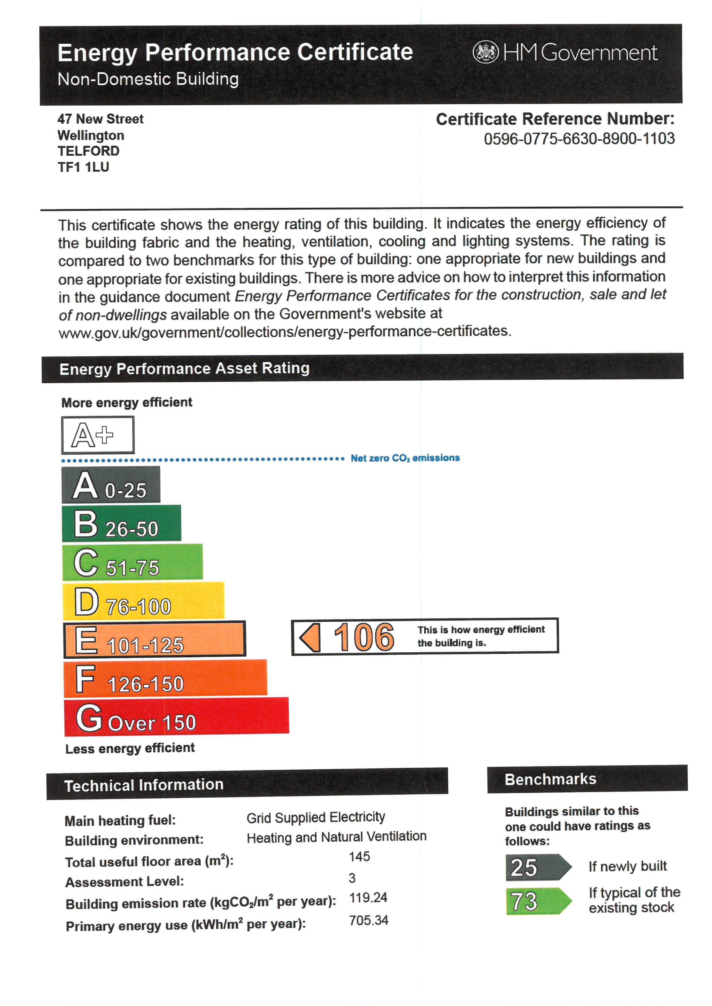 EPC for 47 New Street, Wellington, Telford, Shropshire, tf1 1lu