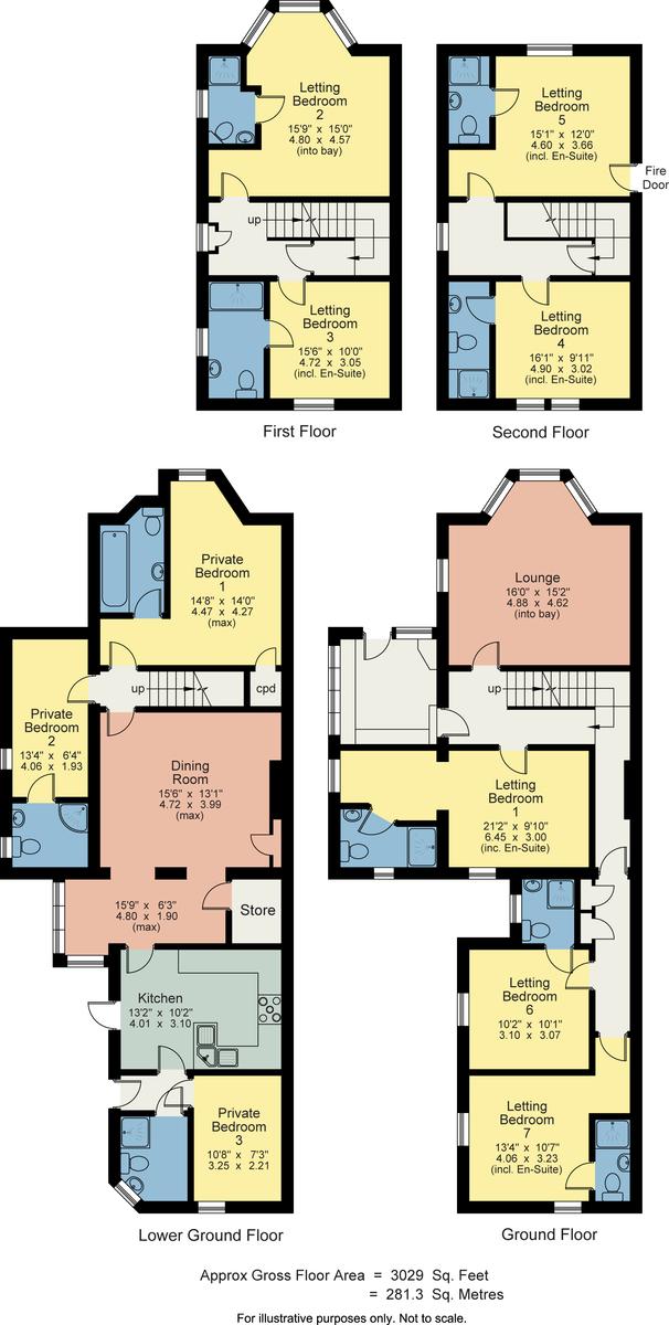 Floorplan Crompton House, Lake Road, Windermere, Cumbria, LA23 2EQ