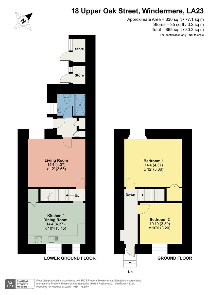 Floorplan 18 Upper Oak Street, Windermere, Cumbria, LA23 2LB
