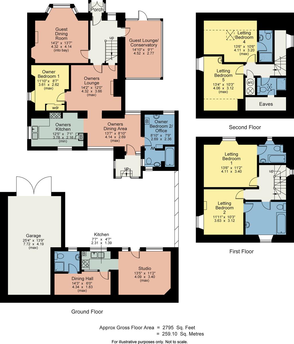 Floorplan Lindisfarne Guest House, Sunny Bank Road, Windermere, Cumbria, LA23 2EN