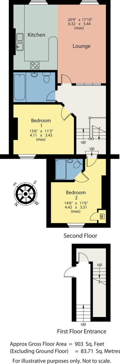 Floorplan Flat 3 Craiglands, 4 Methven Terrace, Grange-Over-Sands, Cumbria, LA11 7DP