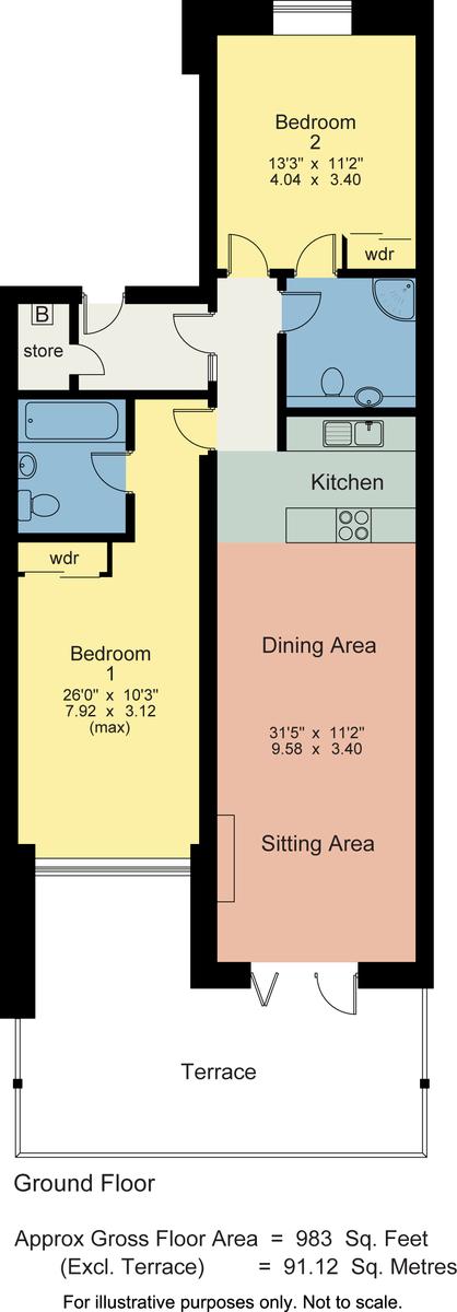 Floorplan 40 Windermere Apartments, Windermere Marina Village, Bowness On Windermere, Cumbria, LA23 3JQ