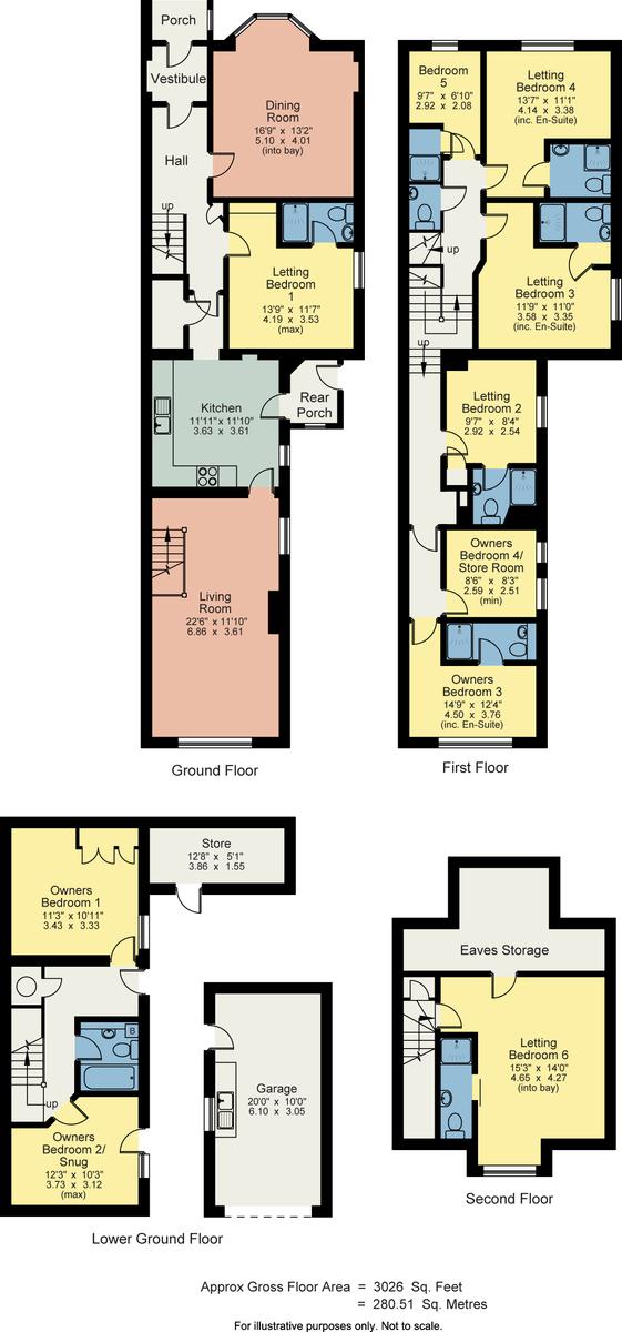 Floorplan Ellerdene, 12 Ellerthwaite Road, Windermere, Cumbria, LA23 2AH