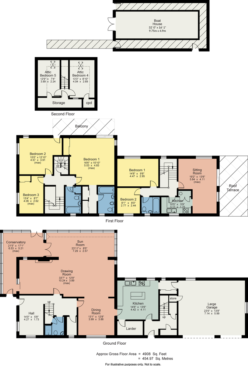 Floorplan Gummers How House, Lake Windermere, Nr Newby Bridge, Cumbria, LA12 8NP