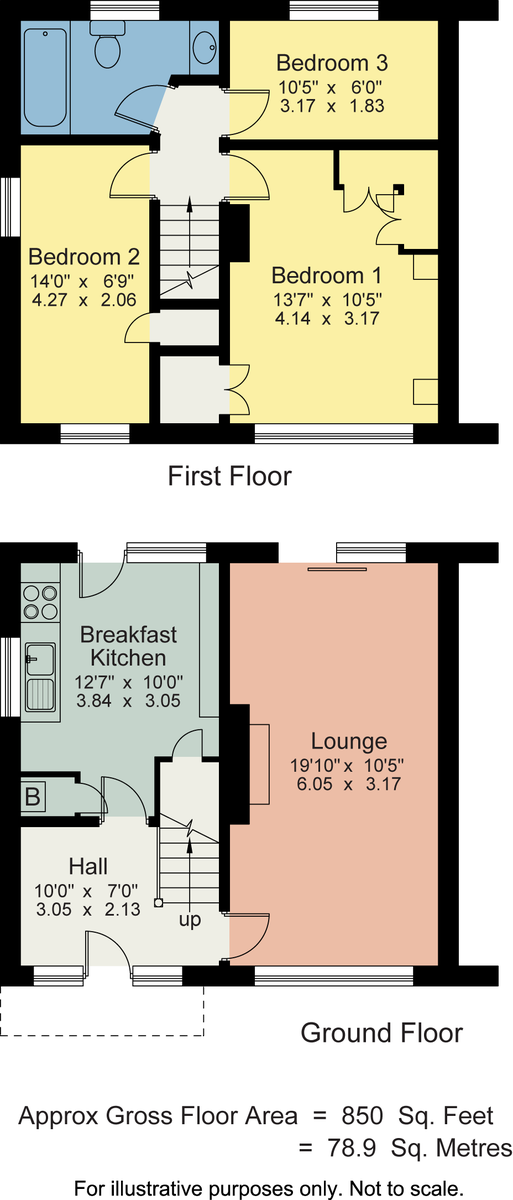 Floorplan 21 Fairfield Road, Windermere, Cumbria, LA23 2DR