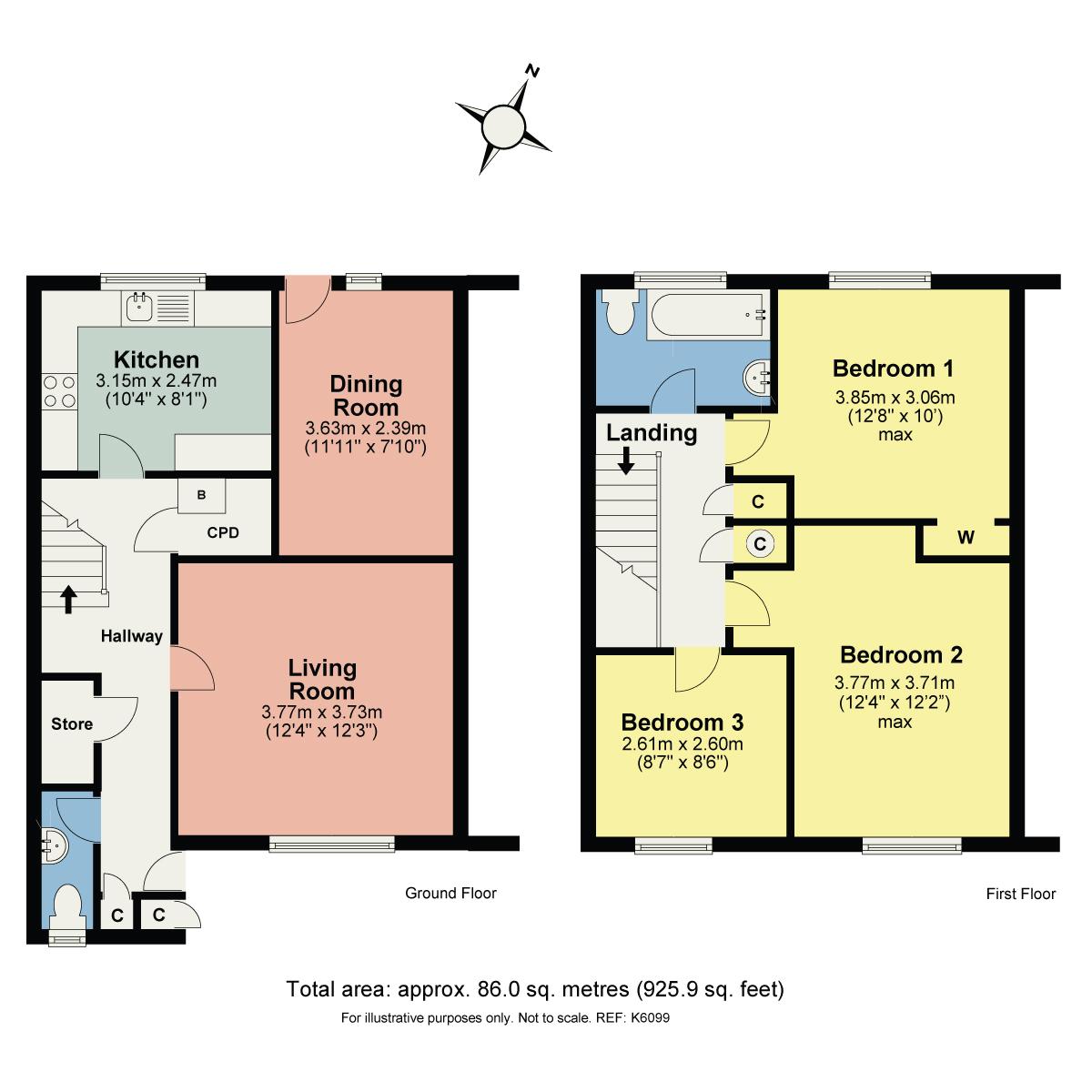 Floorplan 13 Levens Close, Kendal, Cumbria, LA9 7LU