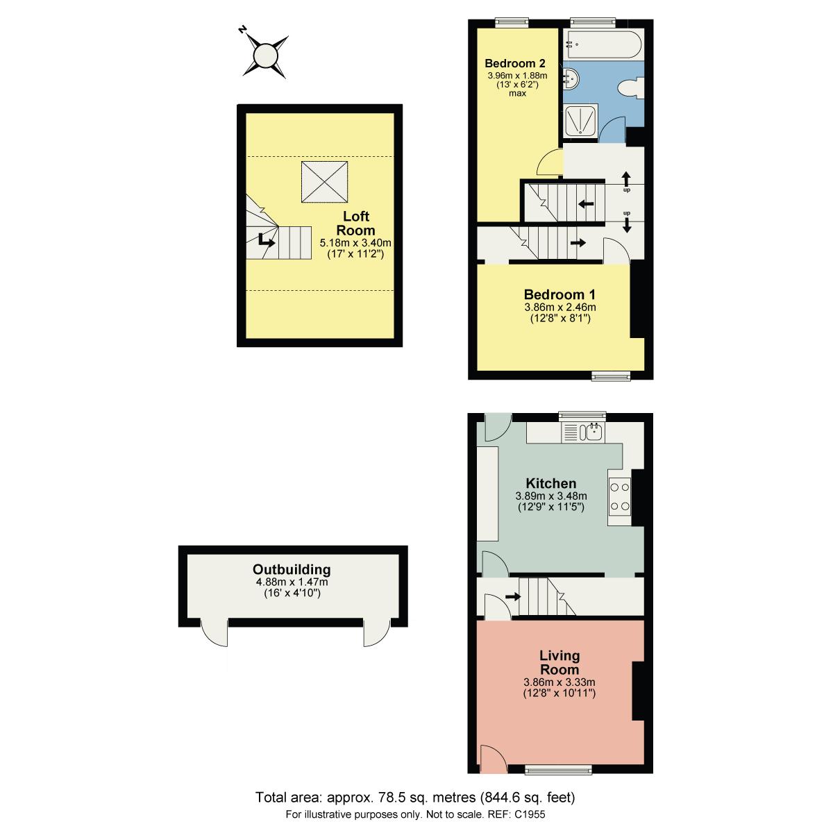 Floorplan Albert Street, Millhead, Carnforth, Lancashire, LA5 9DR