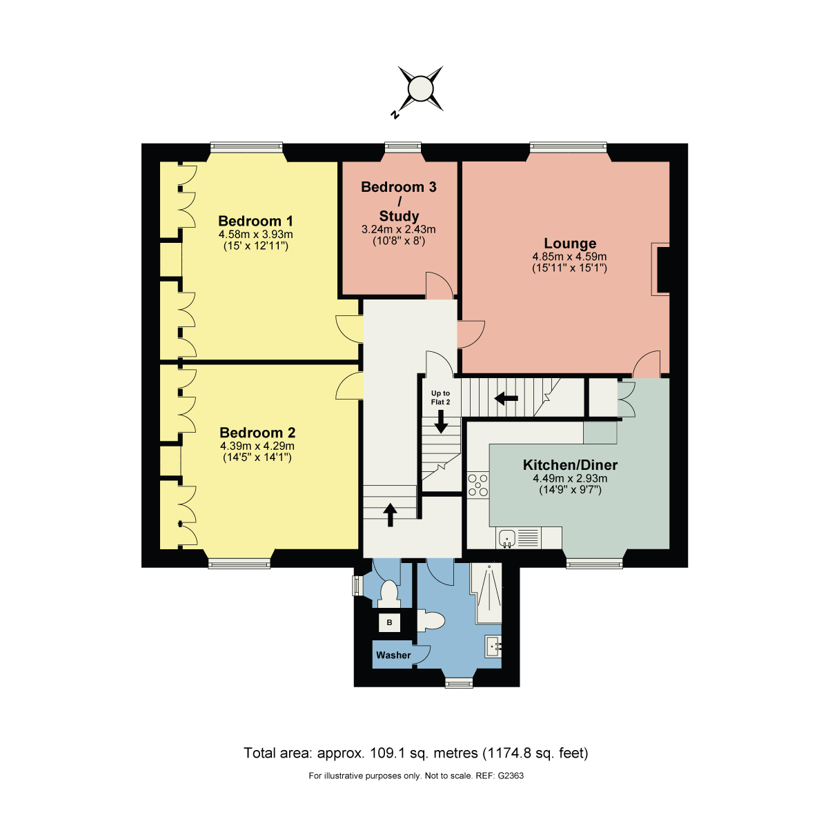 Floorplan Flat 1 Abbotsrood, 24 The Esplanade, Grange over Sands, Cumbria, LA11 7HH