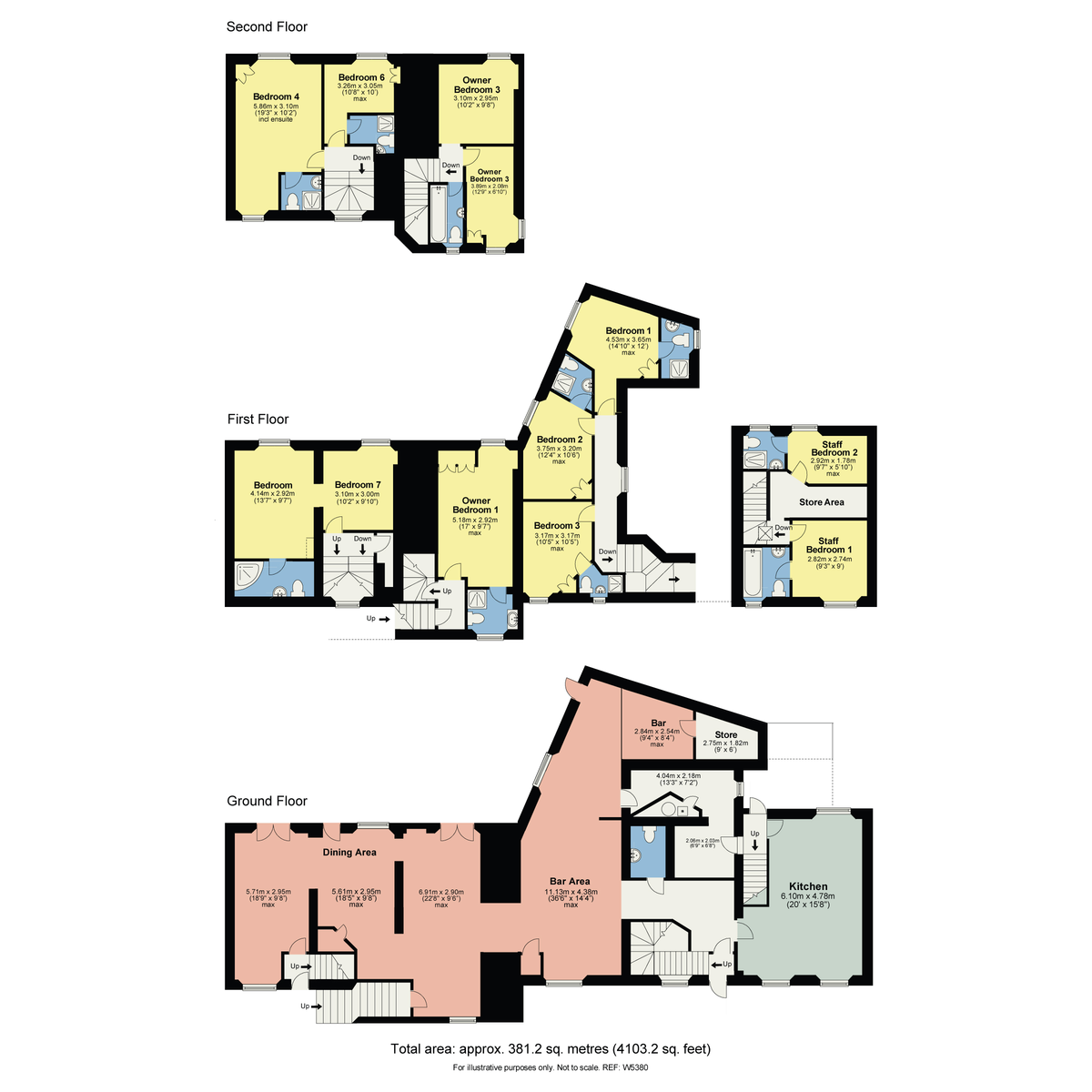Floorplan The White House, Robinson Place, Bowness On Windermere, Cumbria, LA23 3DQ