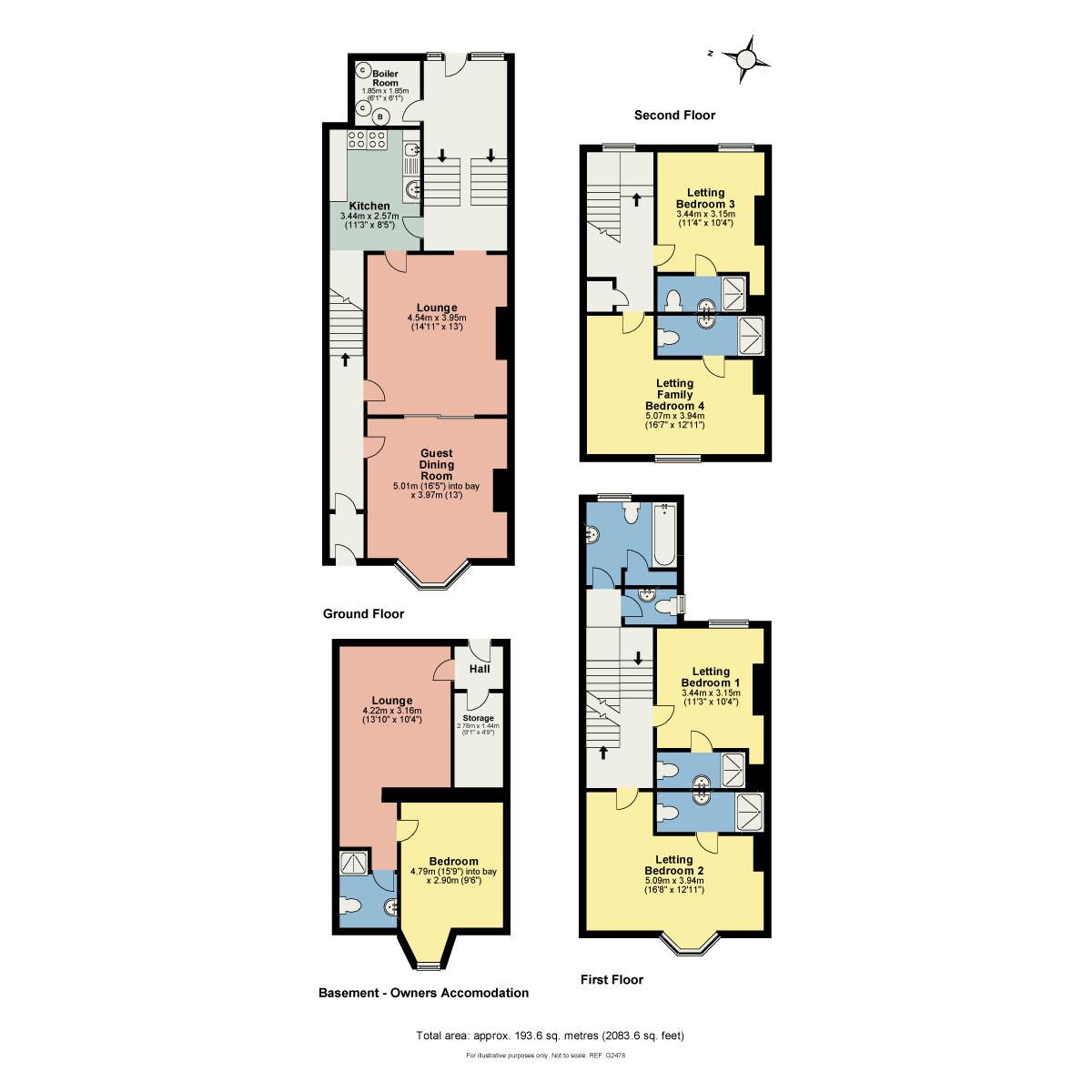 Floorplan Birchleigh Guest House, Kents Bank Road, Grange-over-Sands, Cumbria, LA11 7EY