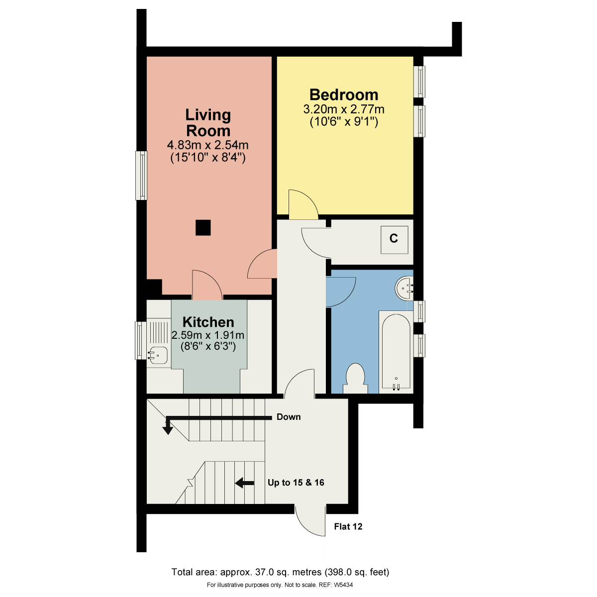 Floorplan 14 Fallbarrow Court, Bowness On Windermere, Cumbria, LA23 3DX