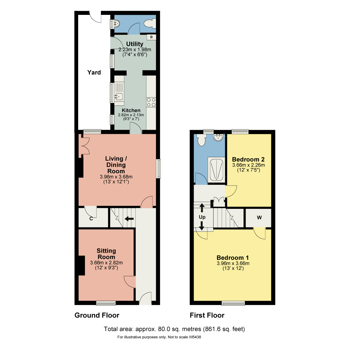 Floorplan Treales Cottage, 9 South Terrace, Bowness On Windermere, Cumbria, LA23 3BH
