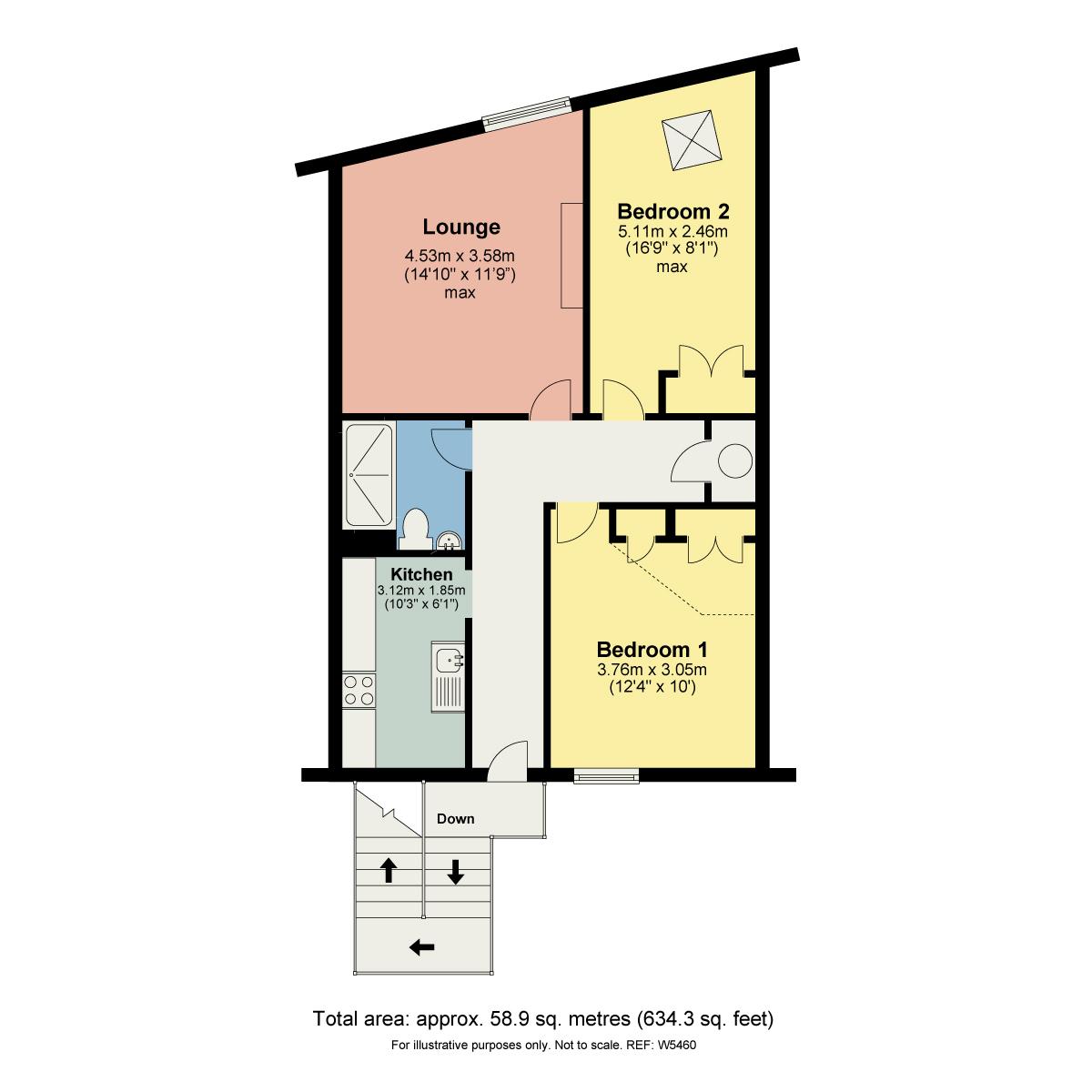 Floorplan Flat 2, 37 Crescent Road, Windermere, Cumbria, LA23 1BL