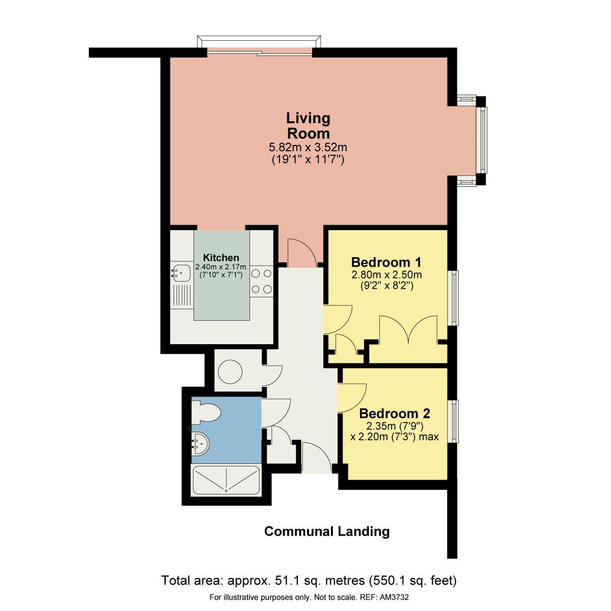 Floorplan 201 Millans Court, Ambleside, Cumbria LA22 9BW