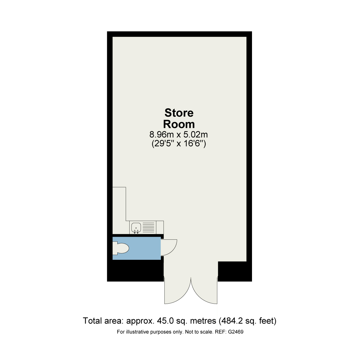 Floorplan Store room at the retail unit, Station Yard, Grange-over-Sands, Cumbria, LA11 6DW