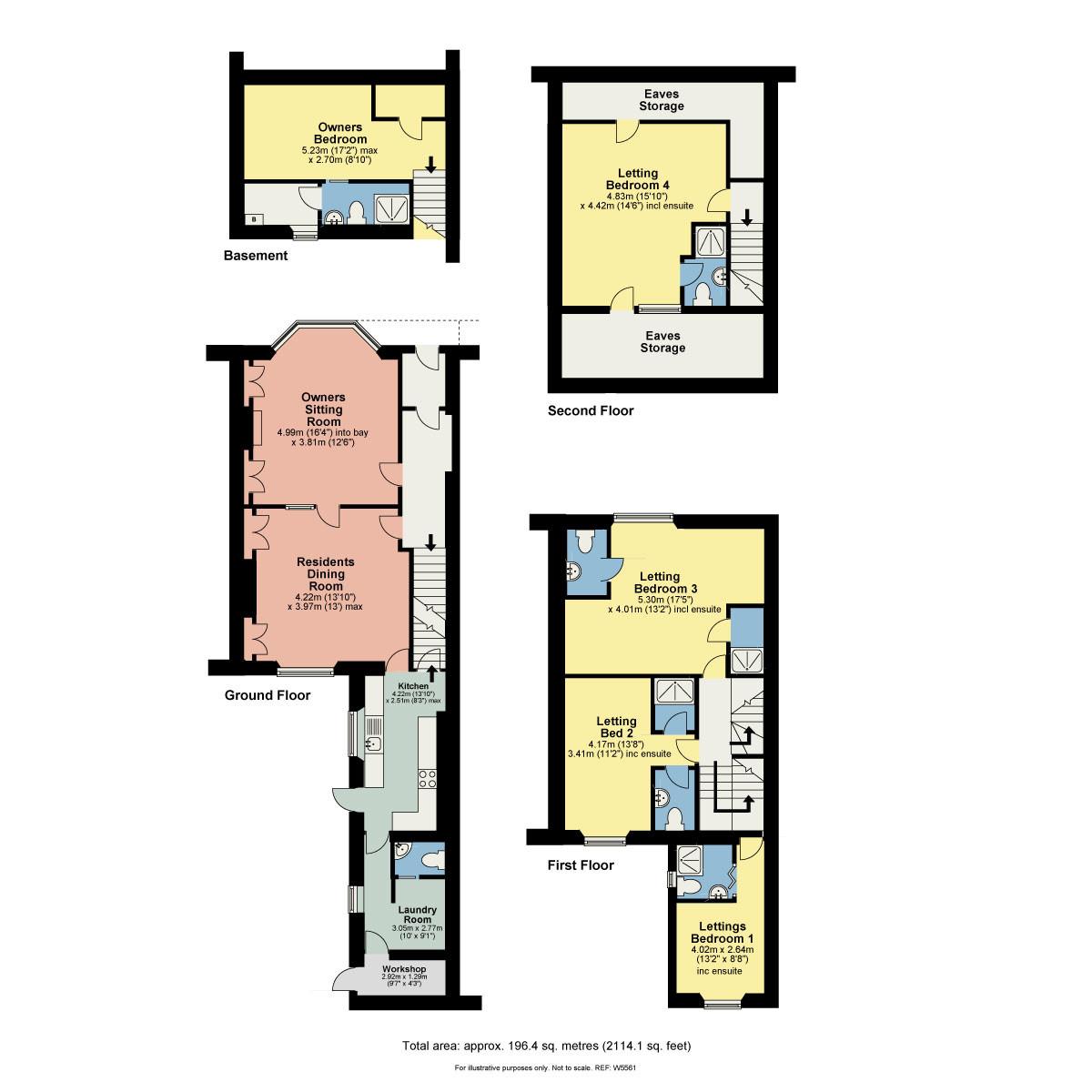 Floorplan Beech House, 11 Woodland Road, Windermere, Cumbria, LA23 2AE