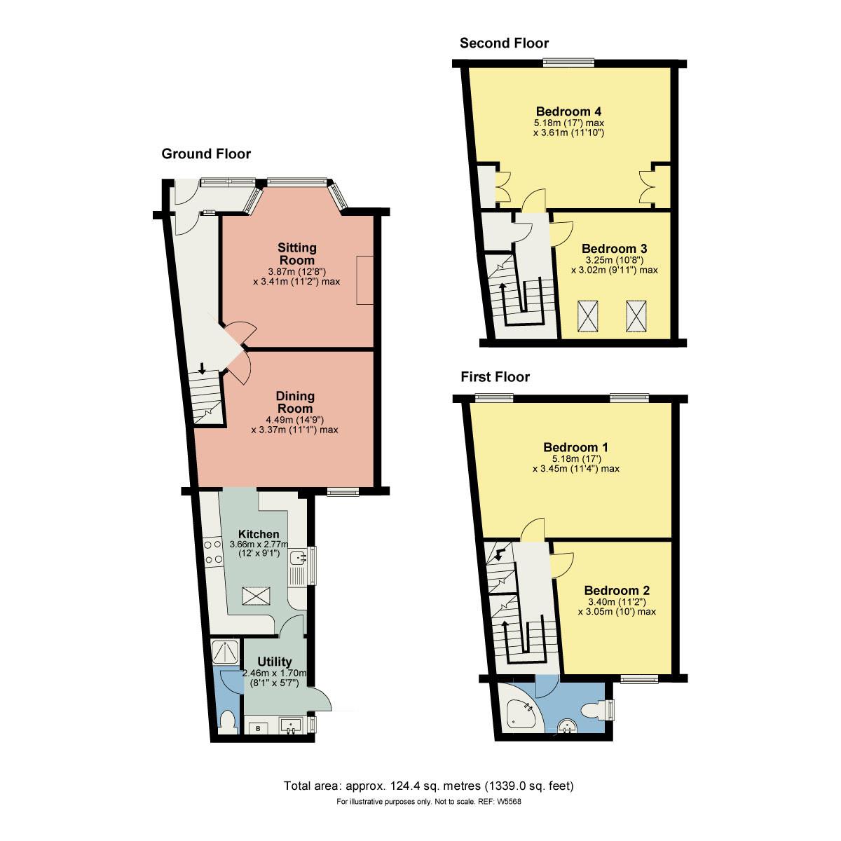 Floorplan Lyndene, 46 Ellerthwaite Road, Windermere