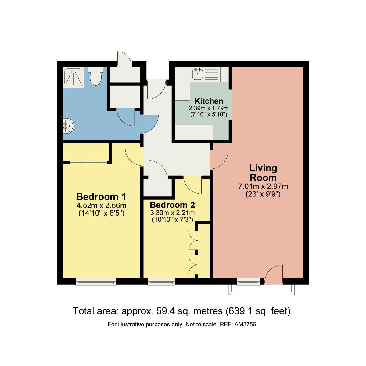 Floorplan 211 Millans Court, Ambleside, Cumbria, LA22 9BW
