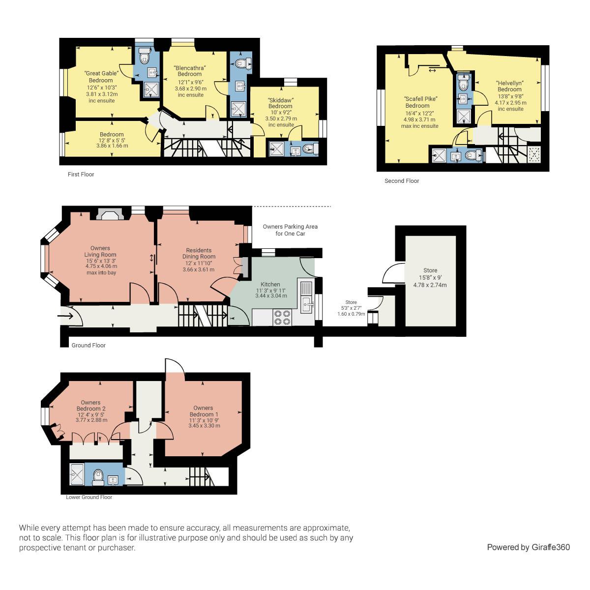 Floorplan Adam Place Guest House, 1 Park Avenue, Windermere, Cumbria, LA23 2AR