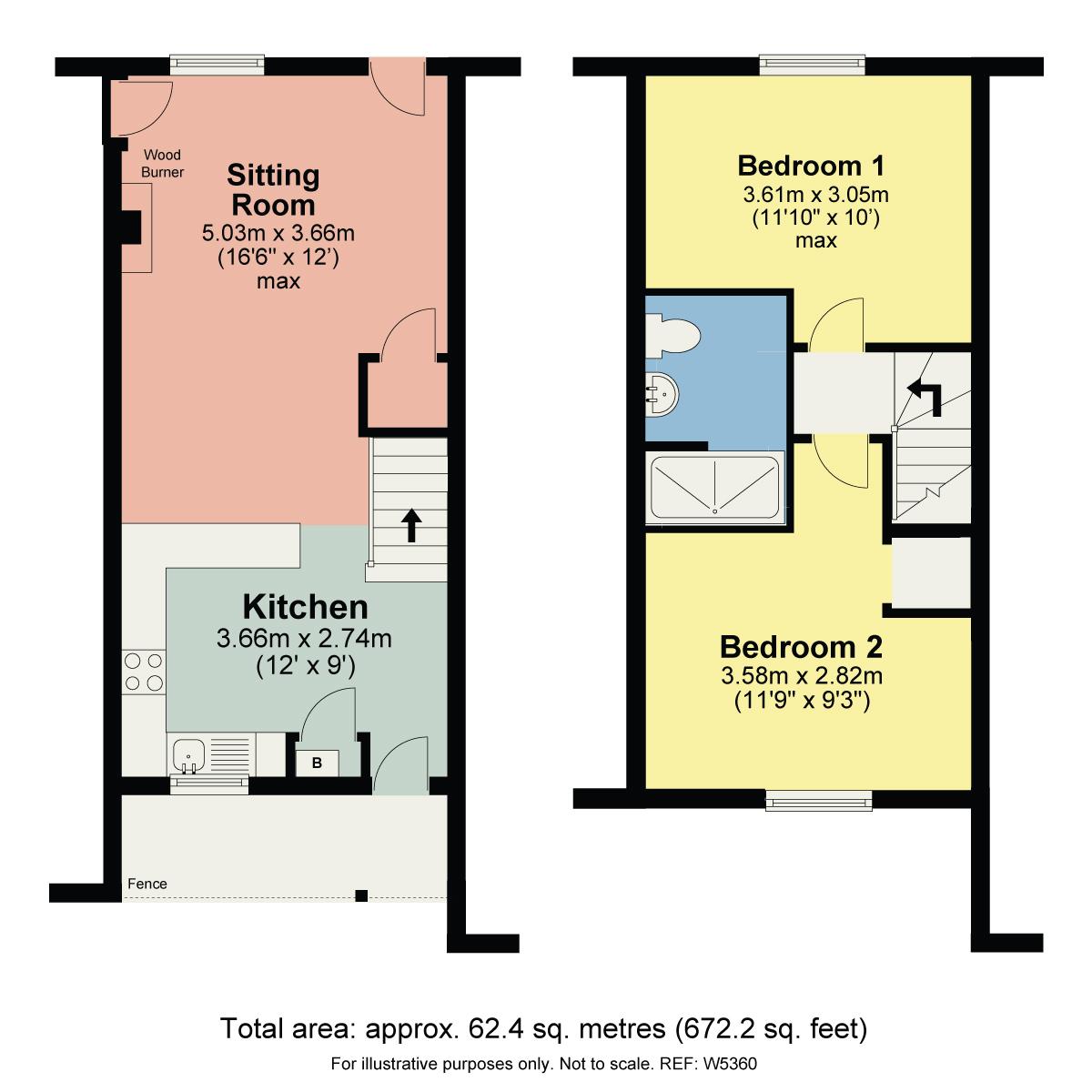 Floorplan Slate Cottage, 17 Victoria Street, Windermere, LA23 1AB
