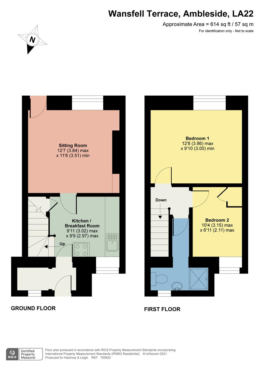 Floorplan 9 Wansfell Terrace, Ambleside, Cumbria, LA22 0AS