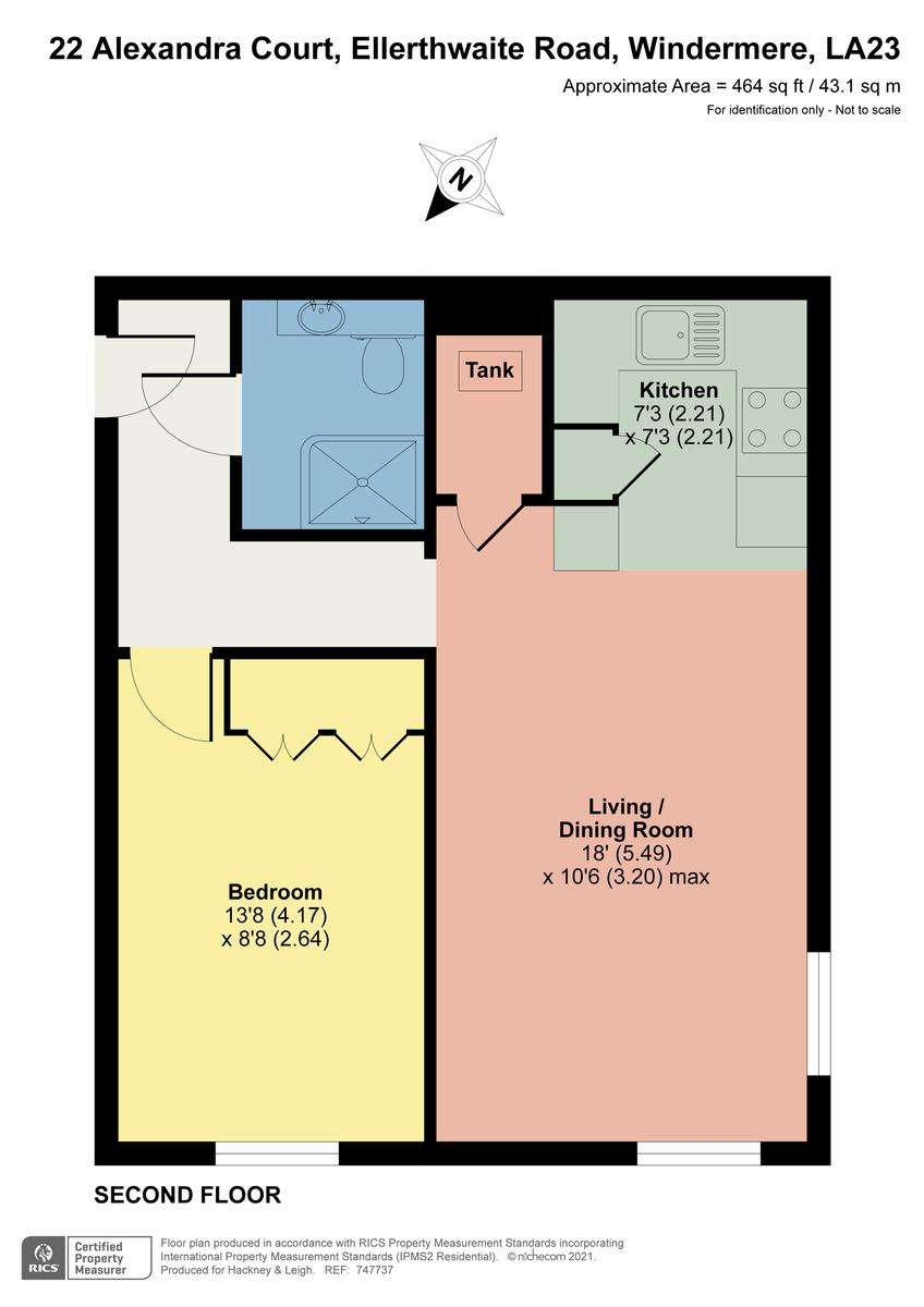Floorplan 22 Alexandra Court, Ellerthwaite Road, Windermere, Cumbria, LA23 2PR