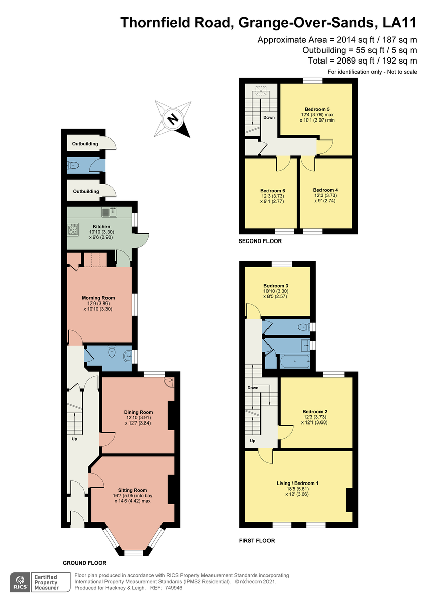 Floorplan 10 Thornfield Road, Grange-over-Sands, Cumbria, LA11 7DR.