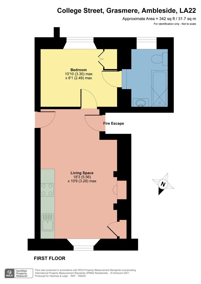 Floorplan Helvellyn, Apartment 3, Beck Allans, College Street, Grasmere, Cumbria, LA22 9SZ