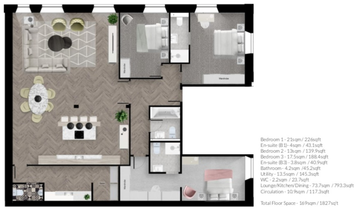 Apt 1 No.101 Bath Street, Birmingham City Centre floorplan 1 of 1