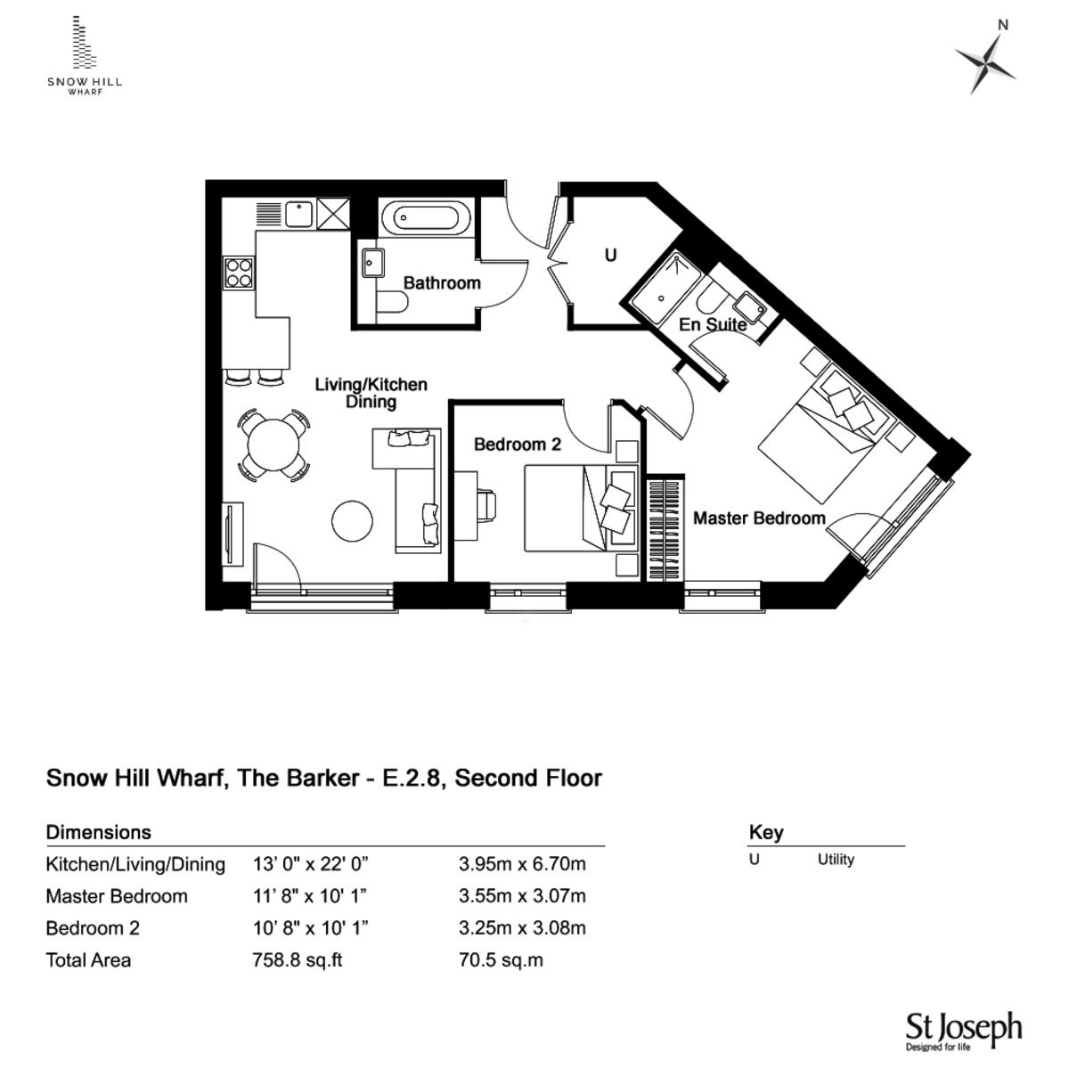 The Barker, Snow Hill Wharf, Birmingham City Centre floorplan 1 of 2