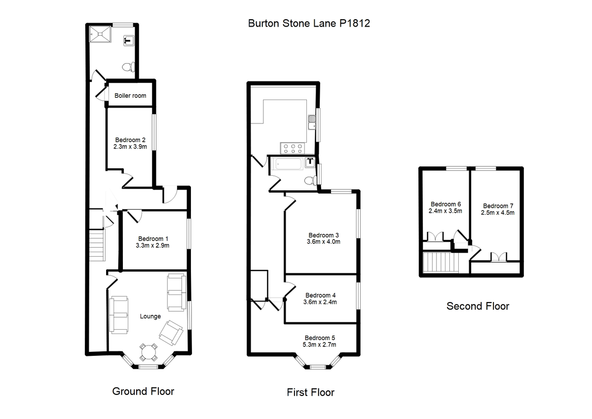 Student housing on Burton Stone Lane, Clifton - floorplan 01