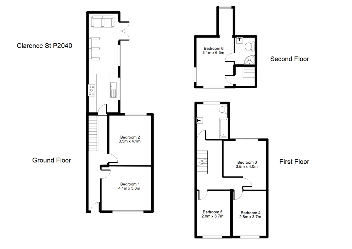Student housing on Clarence Street, The Groves - floorplan 01
